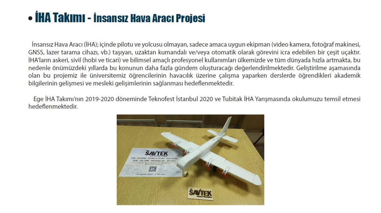 ege üniversitesi insansız hava aracı